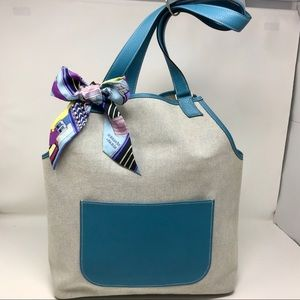 Hermes Toile & Blue Clemence Leather Apron Tote